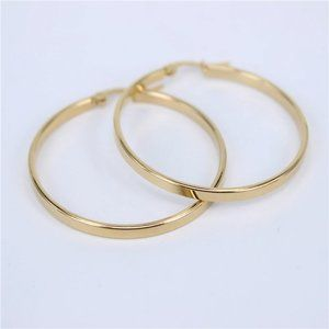 NEW 18K Yellow Gold 1.5'' Round Hoop Earrings